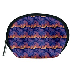 Pink Blue Waves Pattern Accessory Pouch (medium)