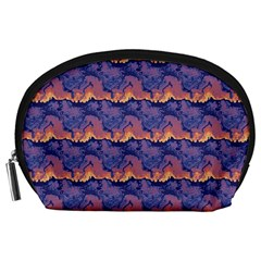 Pink blue waves pattern Accessory Pouch (Large)