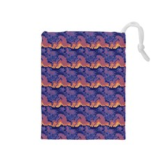 Pink blue waves pattern Drawstring Pouch (Medium)