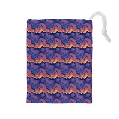 Pink blue waves pattern Drawstring Pouch (Large)