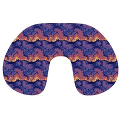 Pink blue waves pattern Travel Neck Pillow