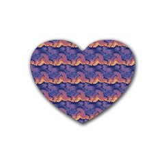 Pink Blue Waves Pattern Rubber Coaster (heart)