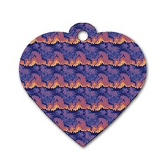 Pink Blue Waves Pattern Dog Tag Heart (one Side)