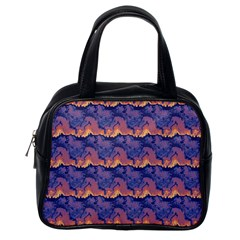 Pink Blue Waves Pattern Classic Handbag (one Side)