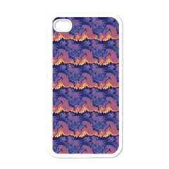 Pink Blue Waves Pattern Apple Iphone 4 Case (white)