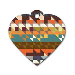 Shapes In Retro Colors Dog Tag Heart (one Side)