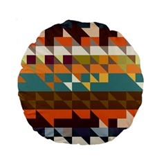 Shapes In Retro Colors 15  Premium Round Cushion