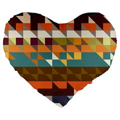 Shapes In Retro Colors 19  Premium Heart Shape Cushion