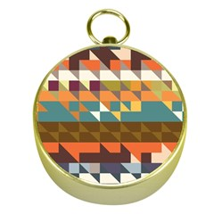 Shapes in retro colors Gold Compass