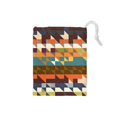 Shapes in retro colors Drawstring Pouch (Small)