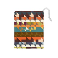 Shapes in retro colors Drawstring Pouch (Medium)