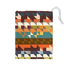Shapes In Retro Colors Drawstring Pouch (large)