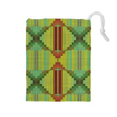 Tribal Shapes Drawstring Pouch (large)