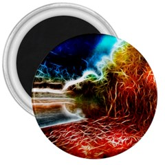 Abstract On The Wisconsin River 3  Button Magnet