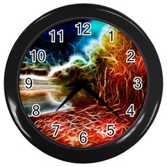 Abstract On The Wisconsin River Wall Clock (black)
