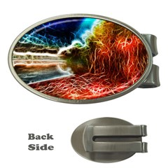 Abstract on the Wisconsin River Money Clip (Oval)