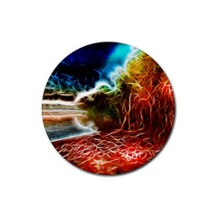Abstract On The Wisconsin River Drink Coaster (round)