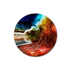 Abstract On The Wisconsin River Magnet 3  (round)