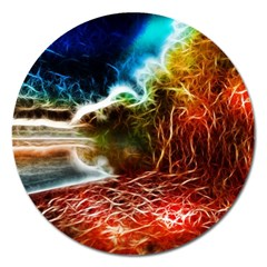 Abstract On The Wisconsin River Magnet 5  (round)