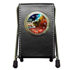 Abstract On The Wisconsin River Stationery Holder Clock