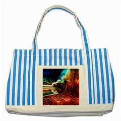 Abstract on the Wisconsin River Blue Striped Tote Bag