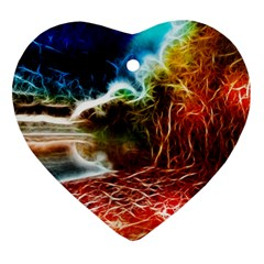 Abstract On The Wisconsin River Heart Ornament (two Sides)