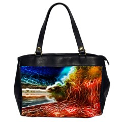 Abstract On The Wisconsin River Oversize Office Handbag (two Sides)