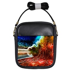 Abstract On The Wisconsin River Girl s Sling Bag