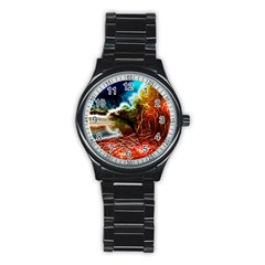 Abstract On The Wisconsin River Sport Metal Watch (black)