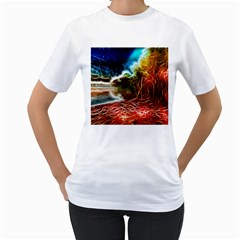 Abstract on the Wisconsin River Women s T-Shirt (White)