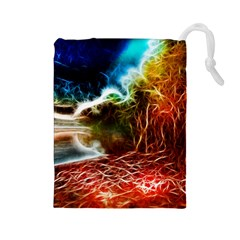 Abstract on the Wisconsin River Drawstring Pouch (Large)