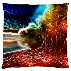 Abstract on the Wisconsin River Large Flano Cushion Case (One Side)