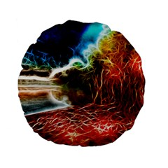 Abstract on the Wisconsin River 15  Premium Flano Round Cushion