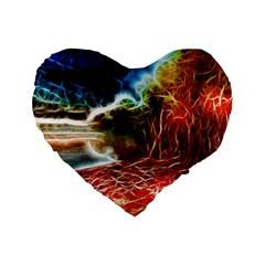 Abstract on the Wisconsin River 16  Premium Flano Heart Shape Cushion