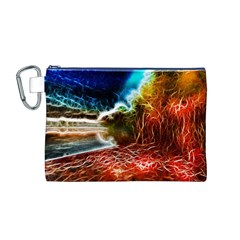 Abstract on the Wisconsin River Canvas Cosmetic Bag (Medium)