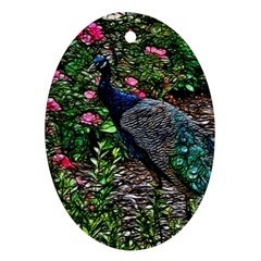 Peacock With Roses Oval Ornament