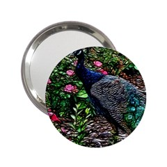 Peacock With Roses Handbag Mirror (2 25 )