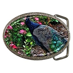 Peacock With Roses Belt Buckle (oval)