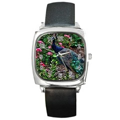 Peacock With Roses Square Leather Watch