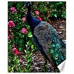 Peacock with roses Canvas 16  x 20  (Unframed)
