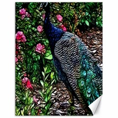 Peacock With Roses Canvas 18  X 24  (unframed)
