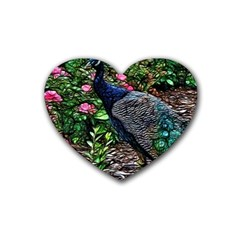 Peacock With Roses Drink Coasters (heart)