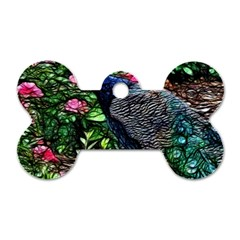 Peacock With Roses Dog Tag Bone (one Sided)