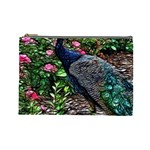 Peacock with roses Cosmetic Bag (Large) Front