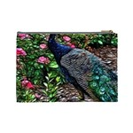 Peacock with roses Cosmetic Bag (Large) Back