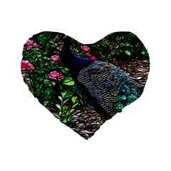 Peacock With Roses 16  Premium Heart Shape Cushion
