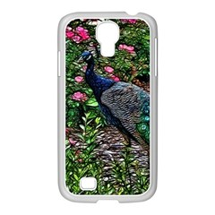 Peacock with roses Samsung GALAXY S4 I9500/ I9505 Case (White)
