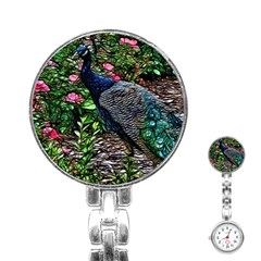 Peacock with roses Stainless Steel Nurses Watch