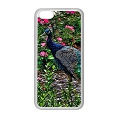 Peacock with roses Apple iPhone 5C Seamless Case (White)