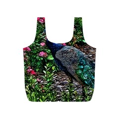 Peacock with roses Reusable Bag (S)